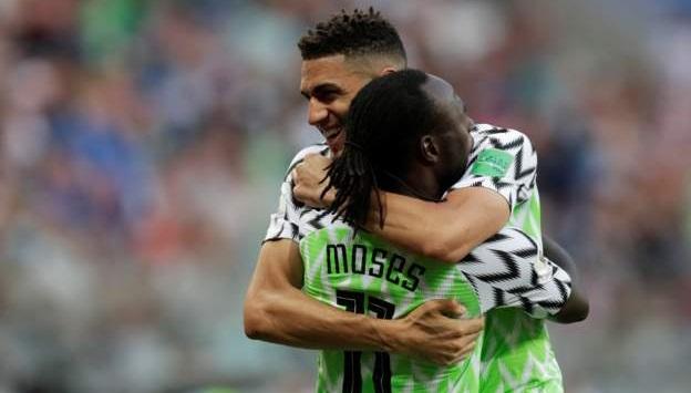 Balogun hugs Moses: Drogba tips super eagles for world cup last 16