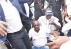 PHOTOSCENE: Police invade Ekiti govt House, Fayose tear gassed, faints