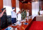 PHOTOSCENE... Back from London, Buhari meets service chiefs