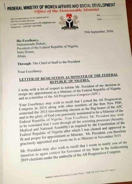 Women Affairs minister resigns, dumps APC
