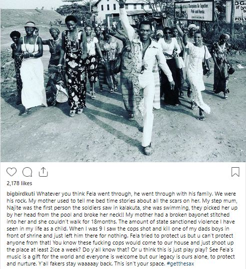 SEUN KUTI ASKS FAKERS: Where were you when we endured the struggles of being part of Fela's life..?