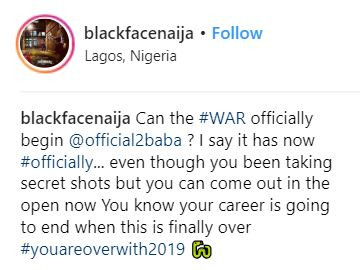 COPYRIGHT: Blackface threatens to end 2face's career in 2019