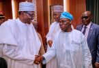 JUST IN: Obasanjo, Buhari face to face at Council of State meeting