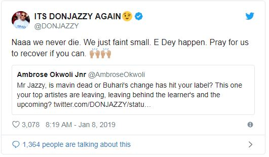 Don Jazzy admits Mavin Record label is going under, begs fans to pray for recovery