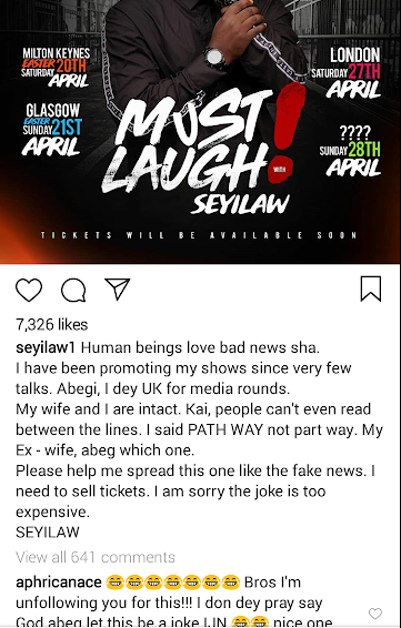 Its a joke! My marriage still intact, comedian Seyi Law says as he apologises for misinformation