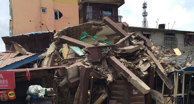 Breaking: Marked for demolition, another 3-storey building collapses in Lagos