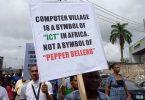Protests in Computer Village over installation of 'Babaloja', 'Iyaloja'