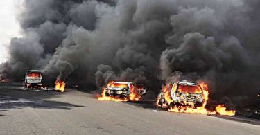 7 arraigned for allegedly attacking policemen, setting vehicles ablaze