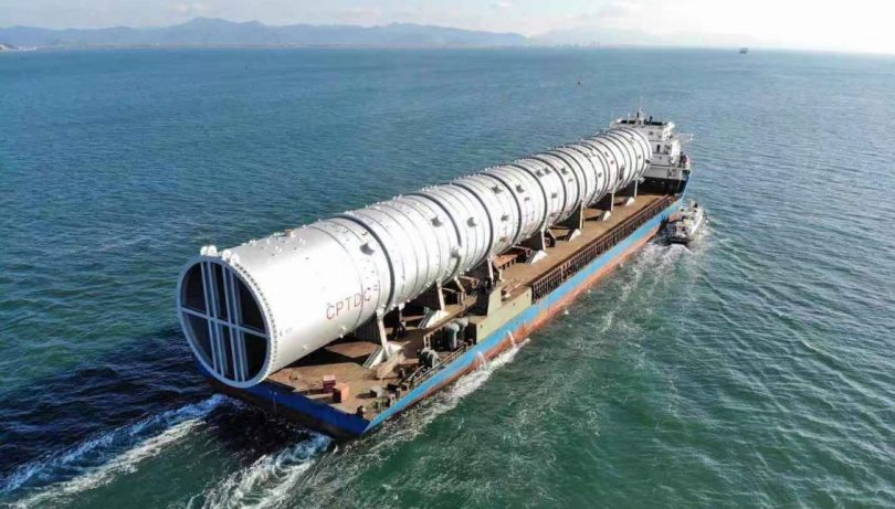 Dangote refinery's atmospheric tower en route Nigeria from China