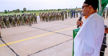 Buhari addressing troops in Katsina