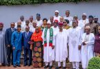 Buhari with delegation from the Nigerian Association for Chamber of Commerce,