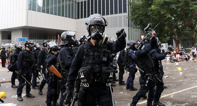 Heavily armed policemen in Hong Kong