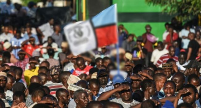 Opposition members protesting in Tanzania