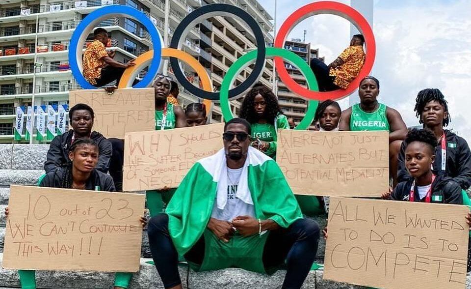 Nigerian athletes protest in Tokyo